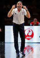 Spain's national basketball team head coach Sergio Scariolo gestures during European championship semi-final basketball match between France and Spain on September 17, 2015 in Lille, France  (credit image & photo: Pedja Milosavljevic / STARSPORT)