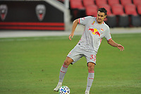 WASHINGTON, DC - SEPTEMBER 12: Aaron Long #33 of New York Red Bulls moves the ball during a game between New York Red Bulls and D.C. United at Audi Field on September 12, 2020 in Washington, DC.