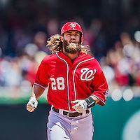 31 May 2014: Washington Nationals outfielder Jayson Werth rounds the bases on a Adam LaRoche 3-run homer in the 4th inning against the Texas Rangers at Nationals Park in Washington, DC. The Nationals defeated the Rangers 10-2, notching a second win of their 3-game inter-league series. Mandatory Credit: Ed Wolfstein Photo *** RAW (NEF) Image File Available ***