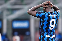 Romelu Lukaku of FC Internazionale reacts during the Serie A football match between FC Internazionale and SSC Napoli at San Siro stadium in Milano (Italy), July 28th, 2020. Play resumes behind closed doors following the outbreak of the coronavirus disease. Photo Marco Canoniero / Insidefoto