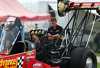 Aug 31, 2019; Clermont, IN, USA; David Grubnic, crew chief for NHRA top fuel driver Brittany Force during qualifying for the US Nationals at Lucas Oil Raceway. Mandatory Credit: Mark J. Rebilas-USA TODAY Sports