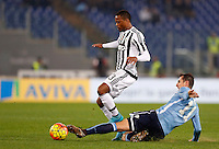 Calcio, Serie A: Lazio vs Juventus. Roma, stadio Olimpico, 4 dicembre 2015.<br /> Juventus' Patrice Evra, left, is challenged by Lazio's Miroslav Klose during the Italian Serie A football match between Lazio and Juventus at Rome's Olympic stadium, 4 December 2015.<br /> UPDATE IMAGES PRESS/Riccardo De Luca