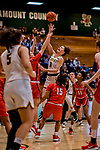 19 February 2020: University of Vermont Catamount Guard Sarah Wells, a Sophomore from Stanstead, Quebec, in second-half action against the Stony Brook Seawolves at Patrick Gymnasium in Burlington, Vermont. The Lady Seawolves edged out the Lady Catamounts 72-68 in America East Women's Basketball. Mandatory Credit: Ed Wolfstein Photo *** RAW (NEF) Image File Available ***