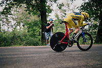 Geraint Thomas (GBR/SKY) easely retains yellow and will thus win his very first grand tour! <br /> <br /> Stage 20 (ITT): Saint-Pée-sur-Nivelle >  Espelette (31km)<br /> <br /> 105th Tour de France 2018<br /> ©kramon