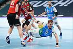 Nemanja Zelenovic (FAG) mit vollem Einsatz beim Spiel in der Handball Bundesliga, Frisch Auf Goeppingen - Fuechse Berlin.<br /> <br /> Foto © PIX-Sportfotos *** Foto ist honorarpflichtig! *** Auf Anfrage in hoeherer Qualitaet/Aufloesung. Belegexemplar erbeten. Veroeffentlichung ausschliesslich fuer journalistisch-publizistische Zwecke. For editorial use only.