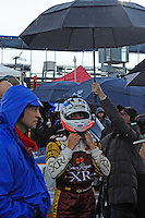 Ozz Negri suits up in the rain, #60 Michael Shank Racing Ford/Riley