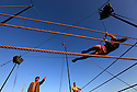 19/08/11 - AURILLAC - CANTAL - FRANCE - 26e Festival de Theatre de rue d Aurillac. ECLAT 2011, Compagnie 100 issues, spectacle Ideaux Beurre Noir - Photo Jerome CHABANNE