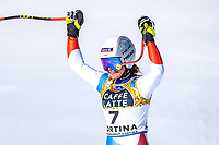 13th February 2021, Cortina, Italy; FIS World Championship Womens Downhill Skiing; Corinne Suter of Switzerland in action during the womens Downhill Race