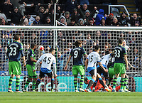 Moussa Sissoko of Newcastle United (3rd from right) scores their second goal during the Barclays Premier League match between Newcastle United and Swansea City played at St. James' Park, Newcastle upon Tyne, on the 16th April 2016