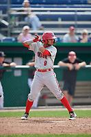 Auburn Doubledays shortstop Jose Sanchez (9) at bat during a game against the Batavia Muckdogs on September 1, 2018 at Dwyer Stadium in Batavia, New York.  Auburn defeated Batavia 10-5.  (Mike Janes/Four Seam Images)