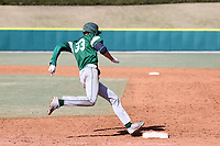 CARY, NC - FEBRUARY 23: Freddy Sabido #33 of Wagner College rounds first base on his way to hitting a double during a game between Wagner and Penn State at Coleman Field at USA Baseball National Training Complex on February 23, 2020 in Cary, North Carolina.