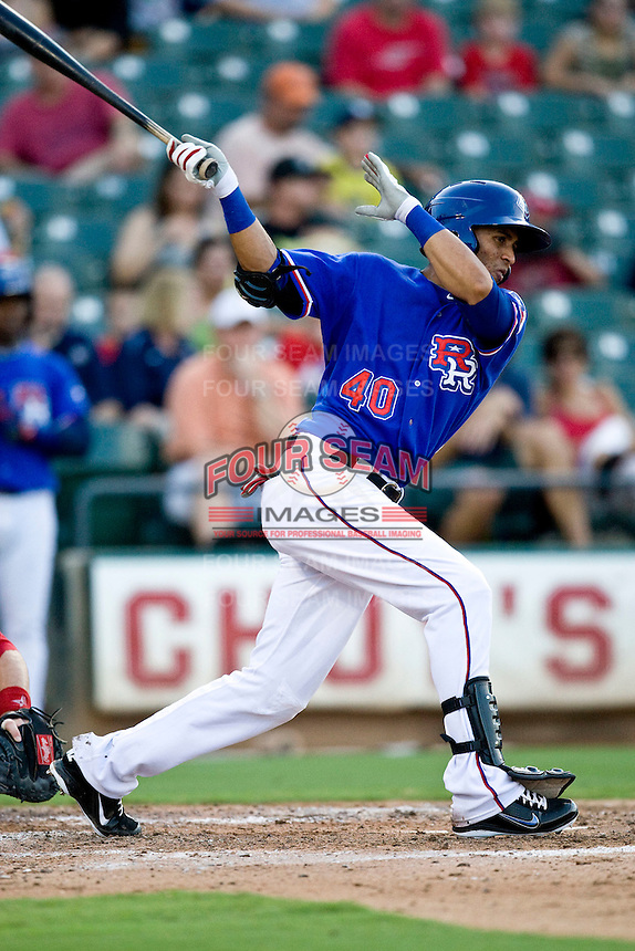 Round Rock Express outfielder Leonys Martin #40 collects his first AAA hit during the game against the Memphis Redbirds at the Dell Diamond on July 10, 2011in Round Rock, Texas.  Memphis defeated Round Rock 10-9.  (Andrew Woolley / Four Seam Images)
