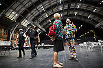 © Joel Goodman - 07973 332324 . 23/06/2016 . Manchester , UK . A colourfully dressed VOTE LEAVE supporter at the count in the EU referendum at Manchester Central convention centre  . Photo credit : Joel Goodman