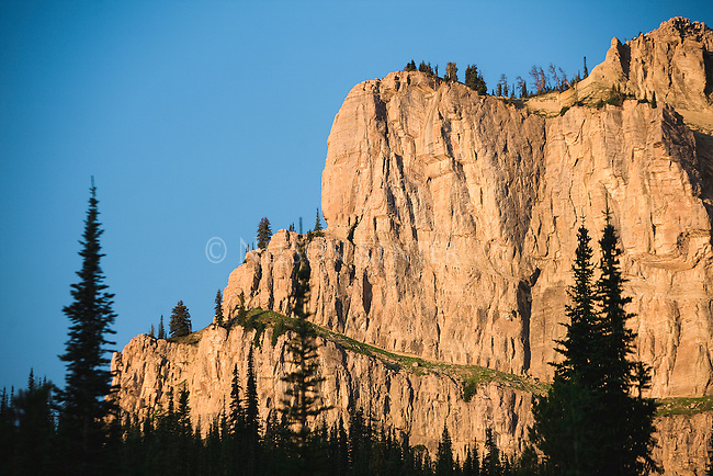 The rocky face of the Chinese Wall at Burnt Creek in the Bob Marshall Wilderness in Montana