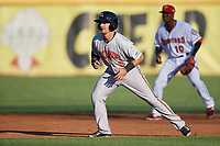 Bowie Baysox shortstop Adrian Marin (8) leads off second base during a game against the Harrisburg Senators on May 16, 2017 at FNB Field in Harrisburg, Pennsylvania.  Bowie defeated Harrisburg 6-4.  (Mike Janes/Four Seam Images)