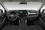 Stock photo of straight dashboard view of 2021 Toyota Highlander-Hybrid Limited 5 Door SUV Dashboard