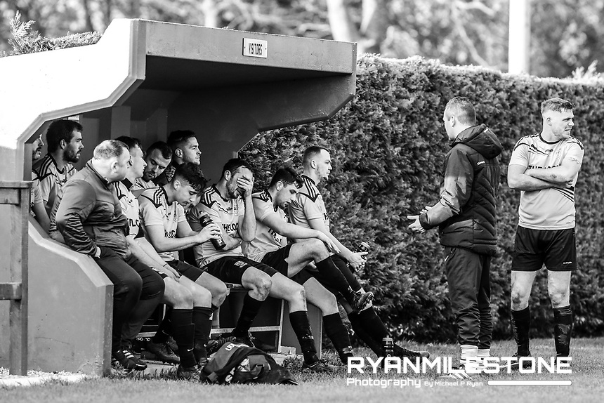 The Clonmel Town team during the half time team talk during the Tipperary Cup 1st Round game between Two Mile Borris and Clonmel Town  on Sunday 9th December 2018 at Newhill, Two Mile Borris Co Tipperary. Mandatory Credit: Michael P Ryan.