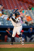 Connecticut Tigers catcher Moises Nunez (20) at bat during a game against the Lowell Spinners on August 26, 2018 at Dodd Stadium in Norwich, Connecticut.  Connecticut defeated Lowell 11-3.  (Mike Janes/Four Seam Images)