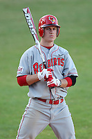 Illinois State Redbirds outfielder Chad Hinshaw #18 during a game vs. Bowling Green at Chain of Lakes Park in Winter Haven, Florida;  March 6, 2011.  Illinois State defeated Bowling Green 18-10.  Photo By Mike Janes/Four Seam Images