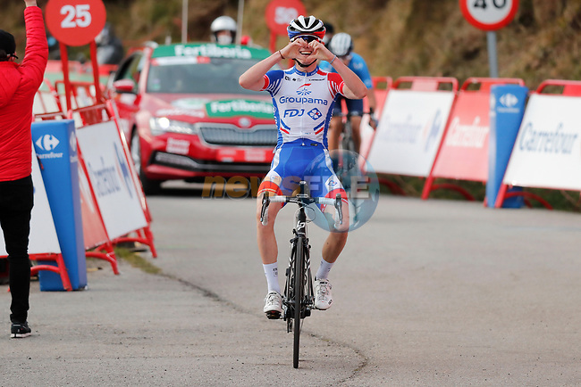 David Gaudu (FRA) Groupama-FDJ wins Stage 11 of the Vuelta Espana 2020 running 170km from Villaviciosa to Alto de la Farrapona, Spain. 31st October 2020.    <br /> Picture: Luis Angel Gomez/PhotoSportGomez | Cyclefile<br /> <br /> All photos usage must carry mandatory copyright credit (© Cyclefile | Luis Angel Gomez/PhotoSportGomez)