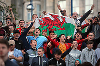 Hundreds of people gathered at Castle Square Gardens in Swansea, to watch on a giant screen and celebrate Wales' UEFA Euro win against Belgium. Friday 01 July 2017