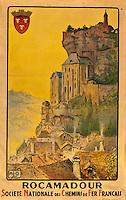 Europe/Europe/France/Midi-Pyrénées/46/Lot: Vieille affiche SNCF sur le village de Rocamadour