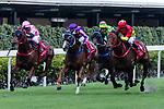 Jockeys riding their horses during Hong Kong Racing at Happy Valley Racecourse on October 28, 2018 in Hong Kong, Hong Kong. Photo by Yu Chun Christopher Wong / Power Sport Images