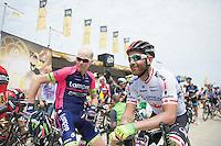 Christopher Horner (USA/Lampre-Merida) & Svein Tuft (CAN/Orica-GreenEDGE) at the start<br /> <br /> 2014 Tour de France<br /> stage 4: Le Touquet-Paris-Plage/Lille Métropole (163km)
