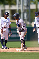 Tampa Tarpons Andres Chaparro (24) gestures towards his teams bench after hitting a double during a game against the Lakeland Flying Tigers on May 16, 2021 at Joker Marchant Stadium in Lakeland, Florida.  (Mike Janes/Four Seam Images)