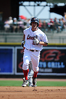Great Lakes Loons outfielder Aaron Miller (29) runs the bases after hitting a home run during a game against the Fort Wayne TinCaps on August 18, 2013 at Dow Diamond in Midland, Michigan.  Fort Wayne defeated Great Lakes 4-3.  (Mike Janes/Four Seam Images)