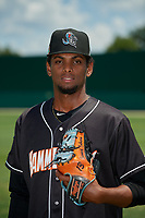 Jupiter Hammerheads pitcher Edward Cabrera (28) poses for a photo before a Florida State League game against the Dunedin Blue Jays on May 16, 2019 at Jack Russell Memorial Stadium in Clearwater, Florida.  Dunedin defeated Jupiter 1-0.  (Mike Janes/Four Seam Images)