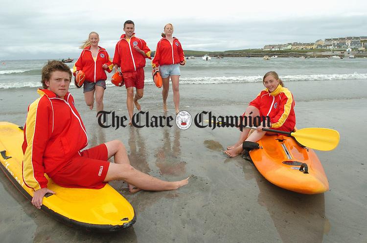 Brian O Dea, Linda Cahir, Eoin Doyle, Sinead Fitzpatrick and Mairead Hayes, all lifeguards at Kilkee. Photograph by John Kelly.