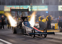 Apr 12, 2019; Baytown, TX, USA; NHRA top fuel driver Mike Salinas during qualifying for the Springnationals at Houston Raceway Park. Mandatory Credit: Mark J. Rebilas-USA TODAY Sports