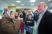 Barnet council leader Richard Cornelius is confronted by former residents of Sweets Way estate in Whetstone, Barnet, London, now living in emergency accommodation outside the borough, during an occupation of council offices to demand rehousing close to schools, friends and family.