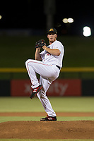 Mesa Solar Sox starting pitcher Teddy Stankiewicz (46), of the Boston Red Sox organization, delivers a pitch during an Arizona Fall League game against the Scottsdale Scorpions at Sloan Park on October 10, 2018 in Mesa, Arizona. Scottsdale defeated Mesa 10-3. (Zachary Lucy/Four Seam Images)