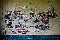 ©Si Barber 07739 472 922. <br /> A mural depicting  actress  Alice Faye in derelict buildings at former US Air Force base RAF Flixton, Suffolk.<br /> <br /> USAGE TERMS: ONE USE IN PRINT AND ONLINE. NO SYNDICATION, RETENTION, OR THIRD PARTY SALES. MINIMUM FEES APPLY