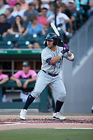 Yolmer Sanchez (2) of the Gwinnett Stripers at bat against the Charlotte Knights at Truist Field on July 17, 2021 in Charlotte, North Carolina. (Brian Westerholt/Four Seam Images)