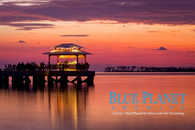 Wakatobi Dive Resort pier during sunset, Wakatobi National Park, Southeast Sulawesi, Indonesia, Banda Sea, Indian Ocean