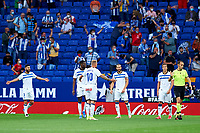22nd September 2021: RCDE Stadium, Barcelona, Spain: La Liga Football, Espanyol versus Atletico Madrid; <br /> Alaves players argue with the referee on his decision