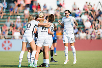 CARY, NC - SEPTEMBER 12: Portland Thorns celebrate a goal by Sophia Smith (obscured) during a game between Portland Thorns FC and North Carolina Courage at WakeMed Soccer Park on September 12, 2021 in Cary, North Carolina.
