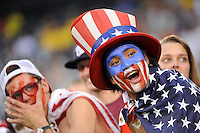 USA fans. The men's national team of Brazil (BRA) defeated the United States (USA) 2-0 during an international friendly at the New Meadowlands Stadium in East Rutherford, NJ, on August 10, 2010.