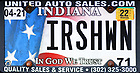 """October 15, 2021; Indiana license plate """"IRSHWN"""" (Photo by Matt Cashore/University of Notre Dame)"""