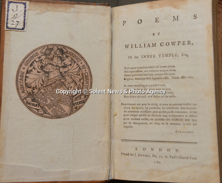 Pictured: The inside cover of William Cowper's 1st volume of poems.<br /> <br /> Chawton house has recently received a set of rare 1st edition William Cowper Poem books, which Jane Austin most likely read extensively during her time staying at the house. This was to thanks to 'Friends of the National Libraries' and the 'Godmersham Lost Sheep Society'. <br /> <br /> These exact books once belonged to Jane Austins brother, Edward Austen Knight, who inherited the estate. These books contain a bookplate belonging to Jane Austin's great nephew George Montagu Knight, as well as a shelf mark signifying where the books sat in the family library.<br /> <br /> © Ewan Galvin/Solent News & Photo Agency<br /> UK +44 (0) 2380 458800