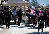 Jasper Stuyven (BEL/Trek-Segafredo) wins the 112th Milano-Sanremo 2021 (1.UWT) and is hugged by his teammates once they crossed the finish line.<br /> <br /> 1 day race from Milan to Sanremo (299km)<br /> <br /> ©kramon