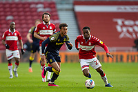 13th March 2021; Riverside Stadium, Middlesbrough, Cleveland, England; English Football League Championship Football, Middlesbrough versus Stoke City; Marc Bola of Middlesbrough retains possession under pressure from Tommy Smith of Stoke City