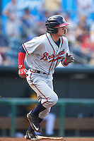 Mississippi Braves shortstop Dansby Swanson (36) runs to first during a game against the Jacksonville Suns on May 1, 2016 at The Baseball Grounds in Jacksonville, Florida.  Jacksonville defeated Mississippi 3-1.  (Mike Janes/Four Seam Images)