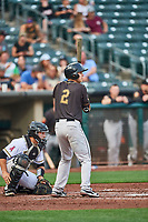 Jason Krizan (2) of the Sacramento River Cats at bat against the Salt Lake Bees at Smith's Ballpark on August 16, 2021 in Salt Lake City, Utah. The Bees defeated the River Cats 6-0. (Stephen Smith/Four Seam Images)