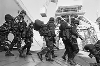 - NATO intervention in Bosnia-Herzegovina, Italian soldiers of Garibaldi brigade land in Ploce harbor (January 1996)....- intervento NATO in Bosnia-Herzegovina, militari italiani della brigata Garibaldi sbarcano nel porto di Ploce (gennaio 1996)