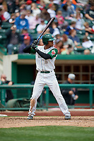 Fort Wayne TinCaps left fielder Rod Boykin (3) at bat during a game against the Wisconsin Timber Rattlers on May 10, 2017 at Parkview Field in Fort Wayne, Indiana.  Fort Wayne defeated Wisconsin 3-2.  (Mike Janes/Four Seam Images)