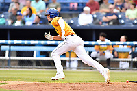 Beer City Tourists designated hitter Willie Abreu (6) runs to first base during a game against the Lakewood BlueClaws at McCormick Field on June 1, 2017 in Asheville, North Carolina. The Tourists defeated the BlueClaws 8-5. (Tony Farlow/Four Seam Images)